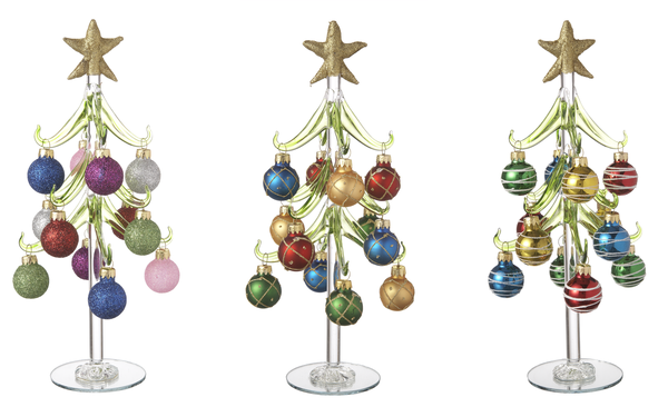 Glass Christmas Tree w Miniature Ornaments 10 inches high