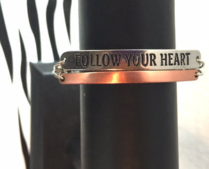 Follow Your Heart Mixed Metal Chain Link Bracelet