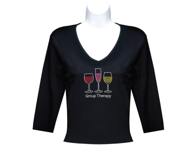 Black 3-4 Sleeve Rhinestone Wine T Shirt Group Therapy