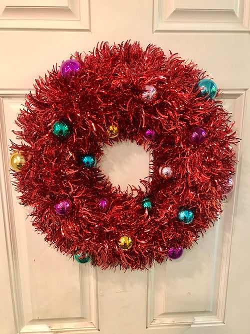 Tinsel Red Wreath 20 inches w Ornaments