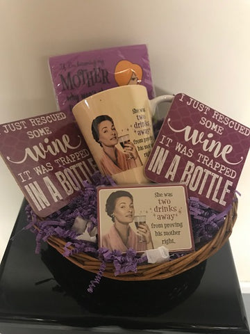 Wine & Coffee Lover Accessory Gift Set Basket
