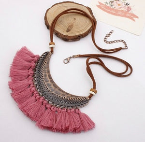 Bohemian Feather Tassel Choker Statement Necklace Pink