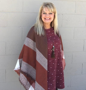 Shades of Brown Neutral Plaid Wrap Blanket Scarf