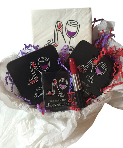 Will Work for Wine and Shoes Gift Basket