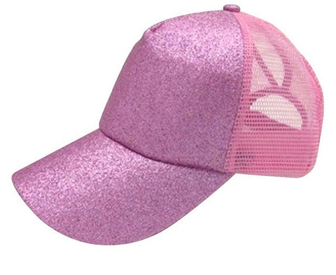 Ponytail Messy Bun Baseball Cap Adjustable Hat Glitter Pink