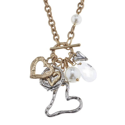 Gold Silver Open Heart Cluster Charm Necklace