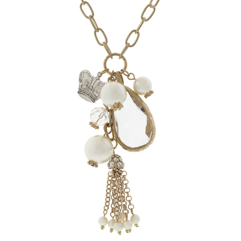 Crown and Charm Chandelier Charm Necklace