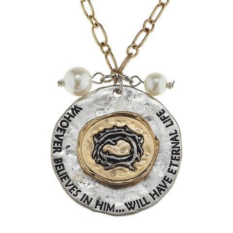 Whoever Believes In Him Disk Charm Necklace
