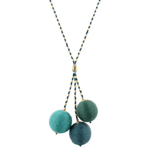 Beaded Green Thread Ball Cluster Necklace