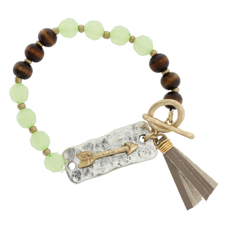 Two Tone Arrow Beaded Tassel Stretch Bracelet