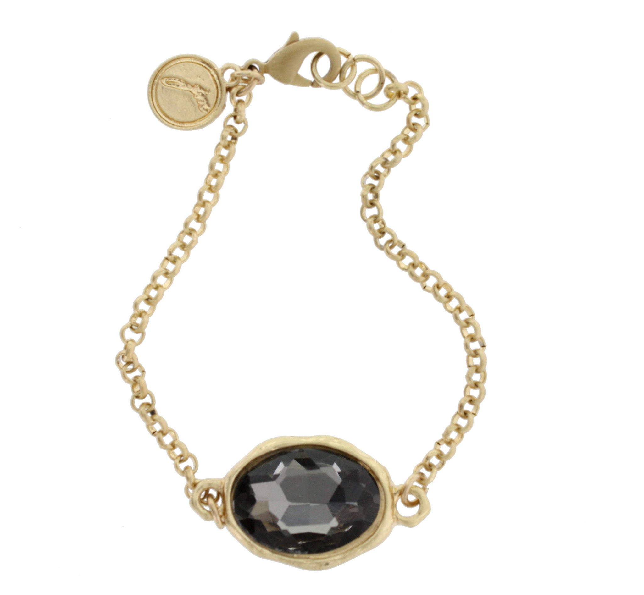 Faceted Black Diamond Glass Gold Chain Link Bracelet
