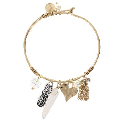 Love Wire Bangle Gold Tone Charm  Bracelet