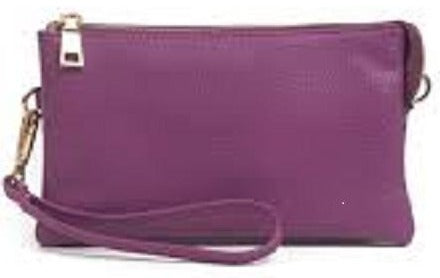 Monogrammable 3 Compartment Wristlet Crossbody Purple