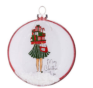 Merry Christmas To You Holiday Shopper Glitter Disc Ornament