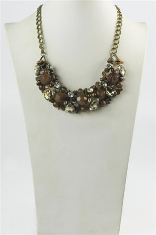 Brown Beaded Crystal Necklace and Earring Set