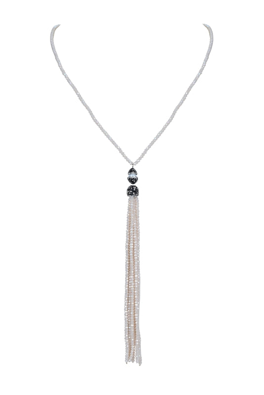 Beaded Faux Pearl Crystal Beige Tassel Necklace