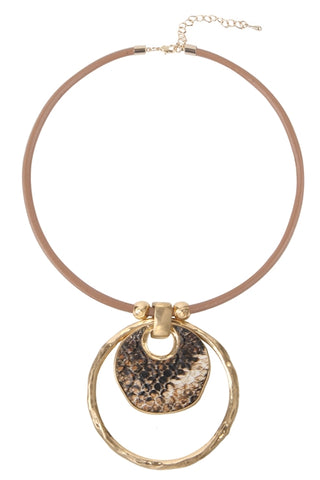 Snakeskin Gold Tone Circle Necklace