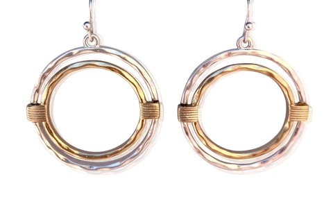Two Tone Silver Gold Circular Earrings
