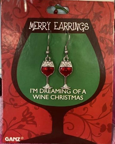 I'm Dreaming of A Wine Christmas Red Wine Dangle Earrings
