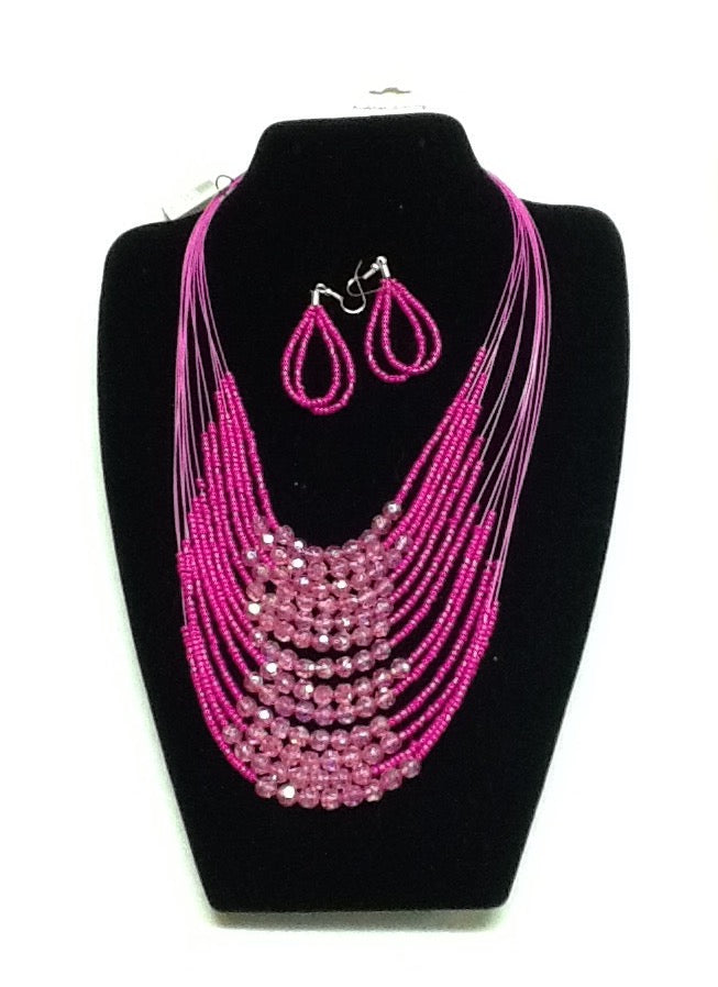 Pink Beaded Multi Strand Necklace