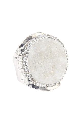 White Druzy Stone with Metal Cuff Ring