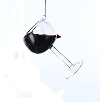 Red Wine Wide Rim Glass Ornament