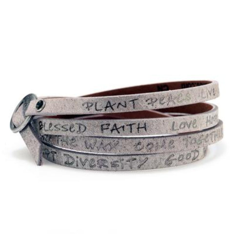 Leather Foil Stamped Inspirational  Wrap Around Peace Bracelet Rose Gold