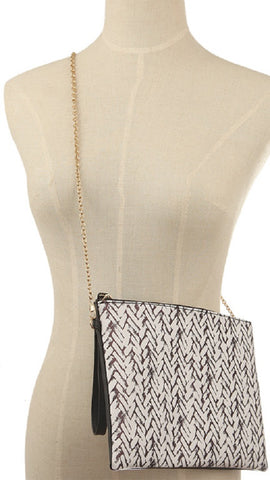Braid Pattern Crossbody Wristlet Makeup Bag
