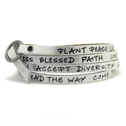 Leather Foil Stamped Inspirational  Wrap Around Peace Bracelet Silver
