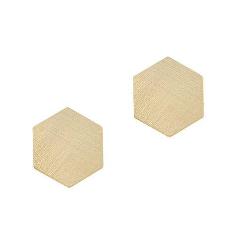 Brushed Goldtone Hexagon Stud Earrings