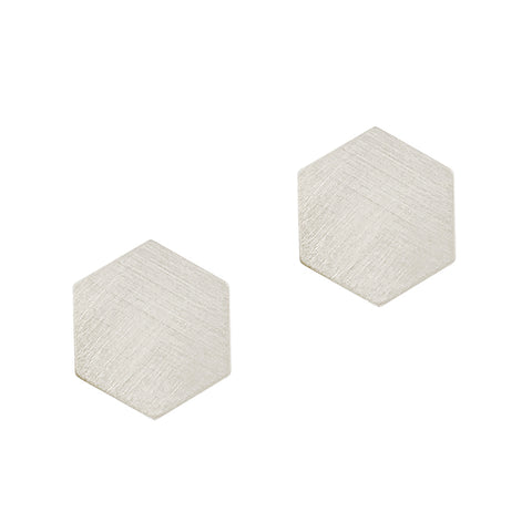 Silvertone Hexagon Stud Earrings
