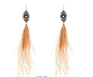 Tan Long Feather Seed Bead Earrings