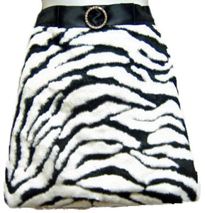 Hostess Faux Fur Apron Zebra Stripe