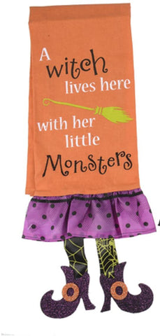 A Witch Lives Here With Her Little Monsters Halloween Kitchen Towel