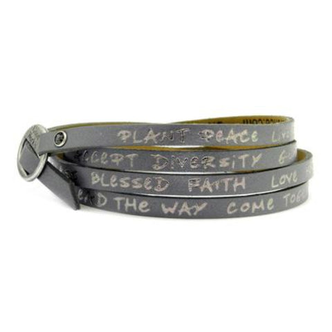 Leather Foil Stamped Inspirational  Wrap Around Peace Bracelet Espresso