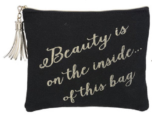 Beauty is on the inside of this bag Tassel Make up Bag