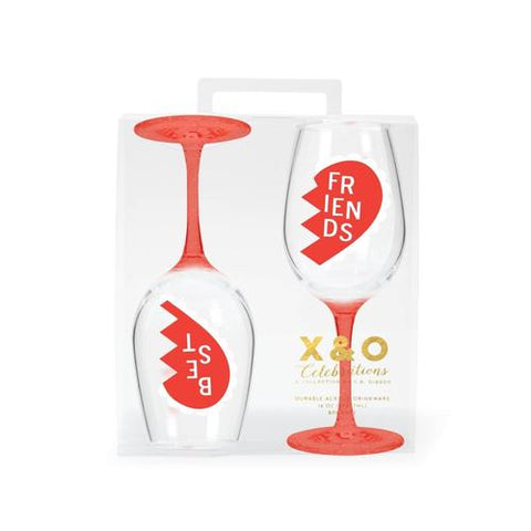 Acrylic Set of Two Best Friends Wine Glasses