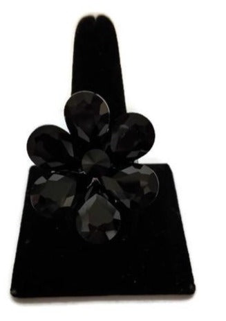 Black Flower Stone Stretch Ring