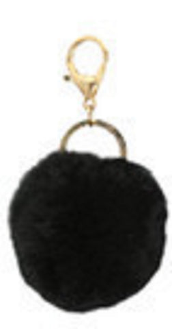 Black Faux Fur Pom Pom Key Ring Purse Bling