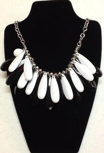 Black White Bauble Necklace