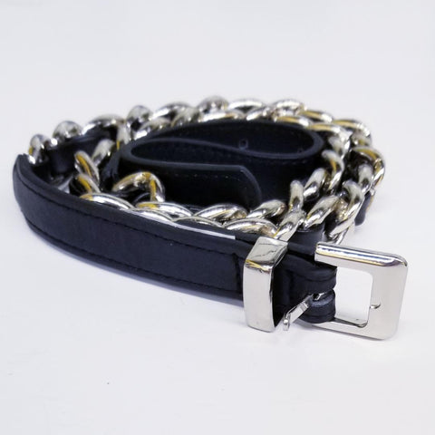 Silver Chain Link Black Threads Belt