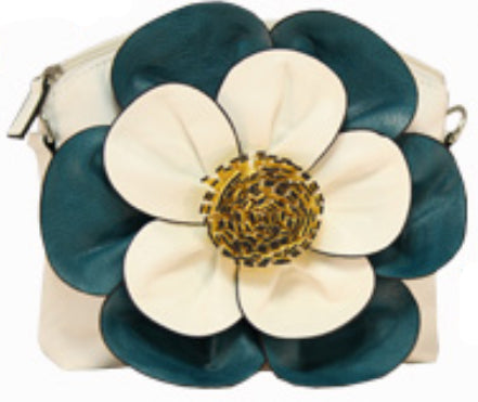 White Turquoise Colorblock Flower Cross body Messenger Purse