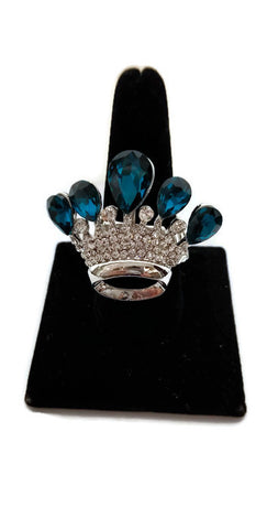 Clear and Teal Crystal Tiara Rhinestone Stretch Ring