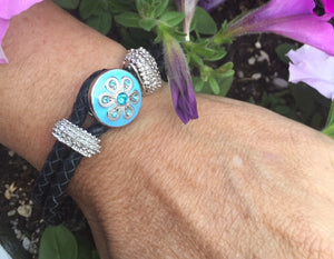 Blue Crystal Flowers Interchangeable Snap Jewelry