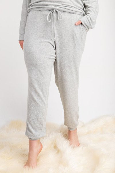 Two Tone Heather  Brushed Knit Jogger Pants