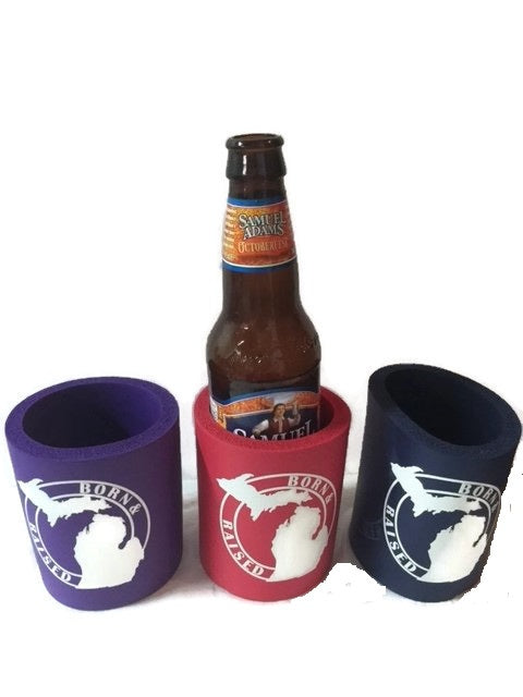 Purple Born and Raised Michigan Can Coozie