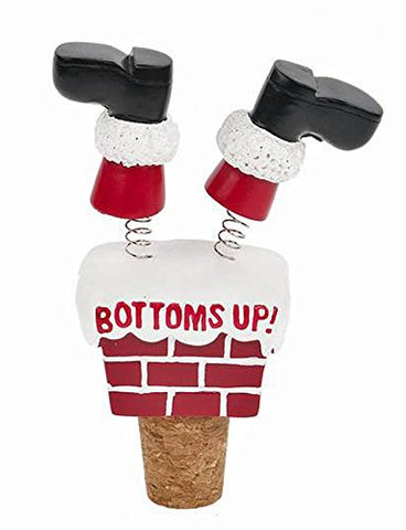 Christmas Santa Claus Down The Chimney Bottoms Up Wine Bottle Topper Stopper