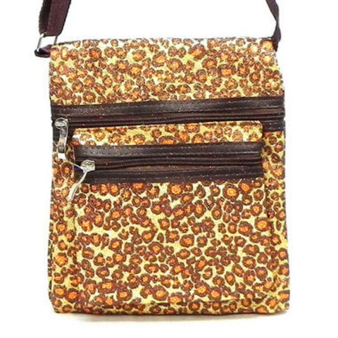 Cheetah Print Brown Glitter Crossbody Purse