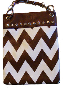 Chevron Brown Rhinestone Hipster Messenger Cross Body Purse