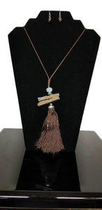 Brown Beaded Tassel Strand Necklace Earring Set